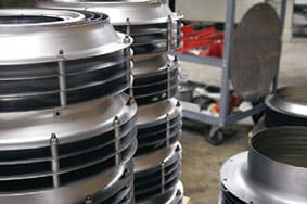 Image of stacked spun assembled parts